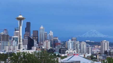 The Space Needle and Mount Rainier in Seattle, Washington