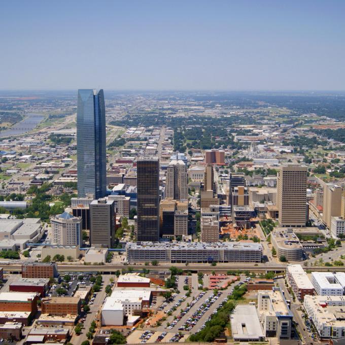 Una Vista Aerea Del Horizonte De Oklahoma City