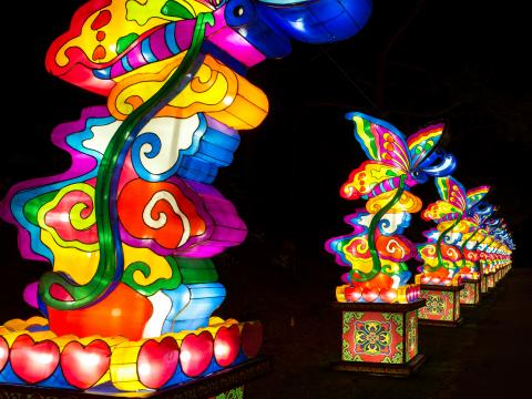 Coloridas linternas en una hilera en el Chinese Lantern Festival
