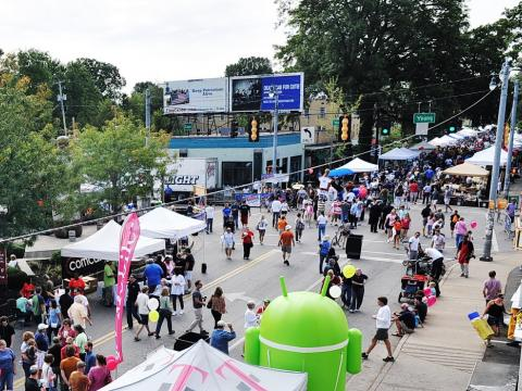 Busy streets and stands at the Cooper Young Festival