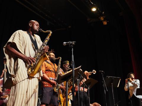 Disfrutando de un espectáculo de Blues Festival en el Jay Pritzker Pavilion, en Millennium Park