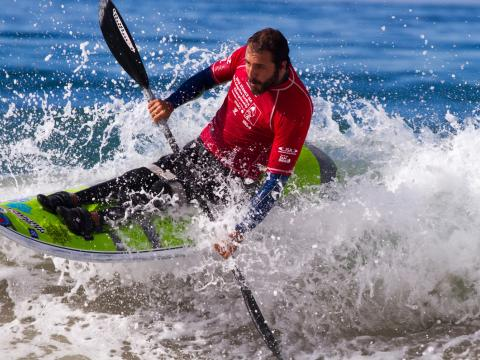 A competitor in Stance ISA World Adaptive Surfing Championship