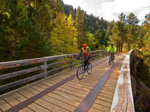 Ciclistas cruzan un puente por el bosque frondoso durante Mickelson Trail Trek