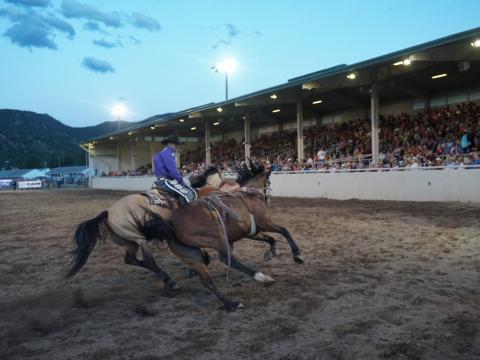 Presentación de vaquero cabalgando a ritmo rápido en el Rooftop Rodeo de una semana, en Estes Park