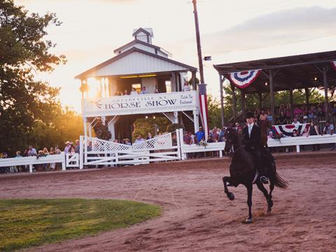 Un caballo y un jinete compitiendo en el Shelbyville Horse Show en Shelbyville, Kentucky