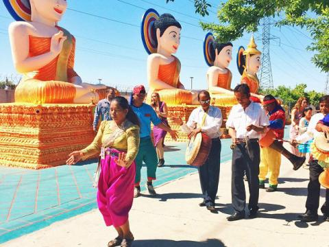 A procession during the Stockton Cambodian Buddhist Temple New Year Celebration in California