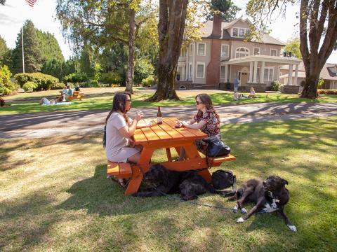 Bebiendo vino en el recorrido de degustación de vino Canines Uncorked apto para mascotas en Tualatin Valley, Oregón