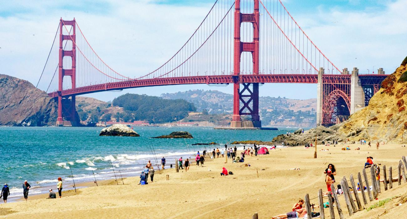 Vista del Golden Gate Bridge desde Baker Beach